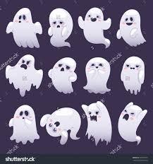 halloween cartoon background cartoon spooky ghost character vector set on dark background