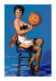 cross stitch pattern of retro vintage pin up carving halloween