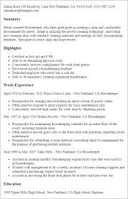 Sample Housekeeper Resume by Housekeeping Resume Summary Resume Resume Examples For