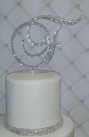 rhinestone cake toppers 6 initial monogram wedding cake topper swarovski