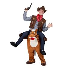 Mens Cowboy Halloween Costume Shoulder Carry Piggy Ride Fancy Dress Party
