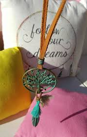 leather turquoise necklace images Tree of life turquoise necklace decorated with a feather and a jpg