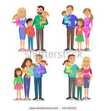family children near parents grandparents stock vector