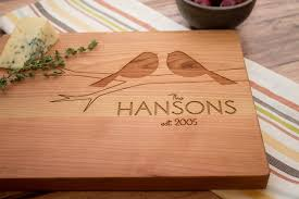 personalized wedding cutting board birds personalized wooden cutting board wedding and