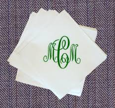 decor white personalized cocktail napkins with black monogrammed