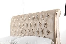 Chesterfield Sleigh Bed 4ft6 Double Chesterfield Sleigh Style Upholstered Velvet Fabric