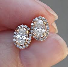 diamond stud earrings sale on sale 999 0 81 carat oval diamond earrings halo 14k modern