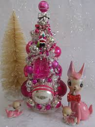 vintage glass ornaments bottle brush tree pink