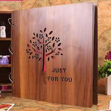 wood photo album simple high grade 16 inch personality carved wooden cover