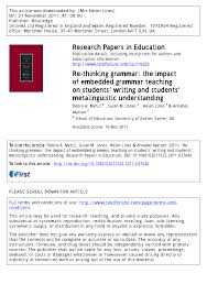 how to write a research paper for publication re thinking grammar the impact of embedded grammar teaching on re thinking grammar the impact of embedded grammar teaching on students writing and students metalinguistic understanding pdf download available