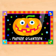 halloween jack o u0027 lantern personalized kids placemat art appeel