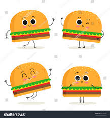 food vector burger cute fast food vector character stock vector 525175189