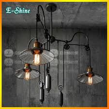 industrial pulley pendant light vintage rh loft2 american industrial pulley fork retractable mirror