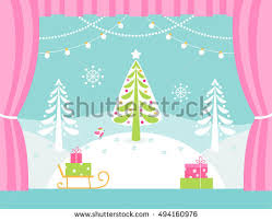 Christmas Decoration For A Stage by Theatre Stage Decorations Christmas New Stock Vector