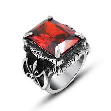 man steel rings images New come vintage titanium stainless steel rings for men red jpg