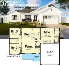 starter home plans plan 62645dj split bedroom starter home plan square