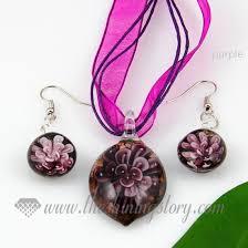 purple necklace pendant images Flower olive venetian murano glass pendants and earrings jewelry jpg