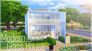 the sims 4 speed build modern glass house youtube