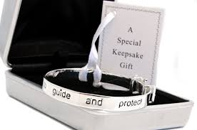 silver plated guardian angel baby bracelet and personalised