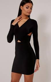 black bodycon dress with lace sleeves naf dresses