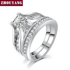fashion wedding rings images Silver color 0 5ct cubic zirconia studded wedding engagement jpg