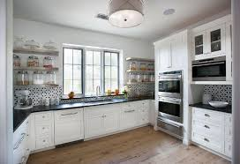 reclaimed white oak kitchen cabinets stainless steel floating kitchen shelves with black and