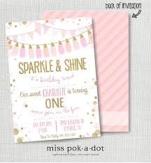 pink and gold 1st birthday invitation iidaemilia com