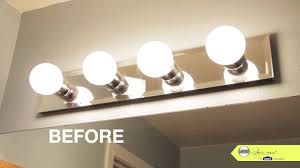 How To Install A Bathroom Vanity Bathroom Makeover Tip Replace Your Bathroom Lighting