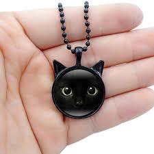 black cat pendant necklace images Wholesale black cat necklace glass time gems cabochon chain jpg