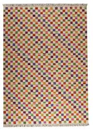 Designer Wool Area Rugs Small Box Collection Hand Woven Wool Area Rug In White And Multi