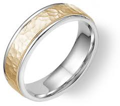 hammered gold wedding band 14k two tone gold hammered wedding band ring