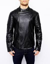 black leather biker jacket barneys originals barneys premium leather biker jacket in black