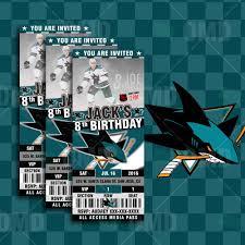 shark birthday invitations sports invites san jose sharks hockey sports party invitations