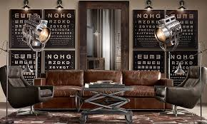 Restoration Hardware Living Rooms Worn Leather Couch Spotlight Lamps Eye Charts As Art