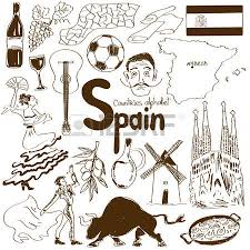 fun sketch collection of spain icons countries alphabet royalty