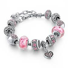 love heart silver bracelet images Long way silver tone chain pink crystal love heart jpg