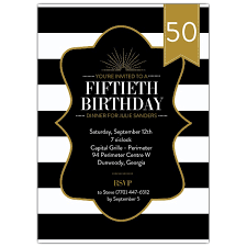 50th birthday stripes black and gold invitations paperstyle
