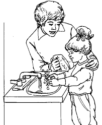 Hand Washing Coloring Sheets - learning to washing hand with my mom coloring pages coloring sun