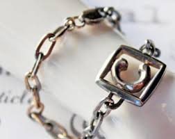 sterling silver monogram bracelet typography jewelry etsy
