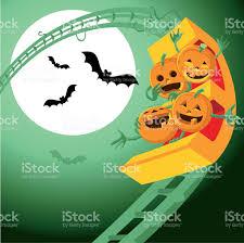 halloween pumpkins cartoons halloween pumpkins roller coaster stock vector art 502003479 istock