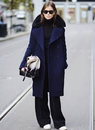 pintrest wide oversized navy coat wide leg pants sneakers style fashion