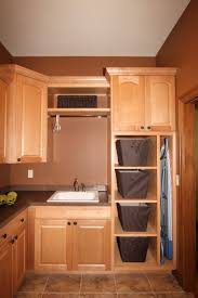 interior traditional laundry room theme with dark brown wall and