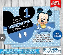 Mickey Mouse Invitation Card Baby Mickey Mouse Birthday Invitation By Templatemansion On Deviantart