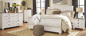 Sleigh Bed Set Signature Design By Willowton Whitewash Sleigh Bedroom Set