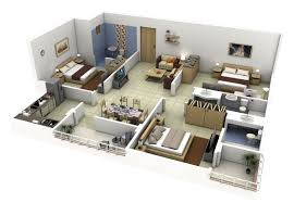 Bedroom Plans Insight Of 3 Bedroom 3d Floor Plans In Your House Or Apartment Design