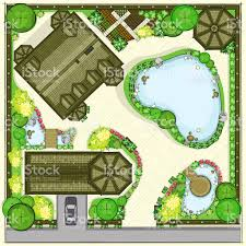 residential house plan with a beautiful garden view stock