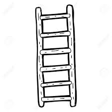 ladder freehand drawn black and white cartoon ladder royalty free