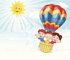 happy kids cartoon riding a air balloon stock vector art