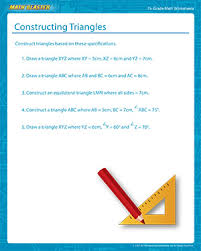 constructing triangles 7th grade math worksheets math blaster