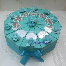 wedding cake gift boxes 100pcs blue with wedding cake slice centerpiece candy box